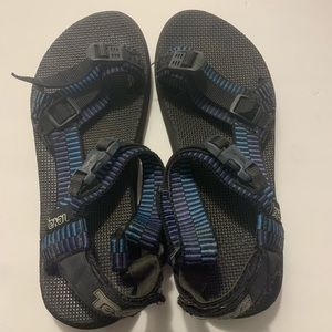 Teva black and blue sandals
